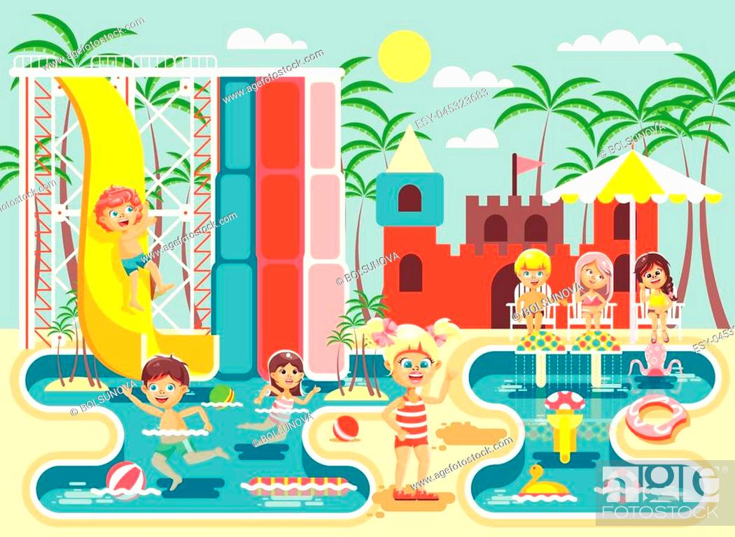 Stock Vector: Stock vector illustration cartoon characters children, boys and girls frolicking or resting water park, water attractions, riding water slide swim pool.