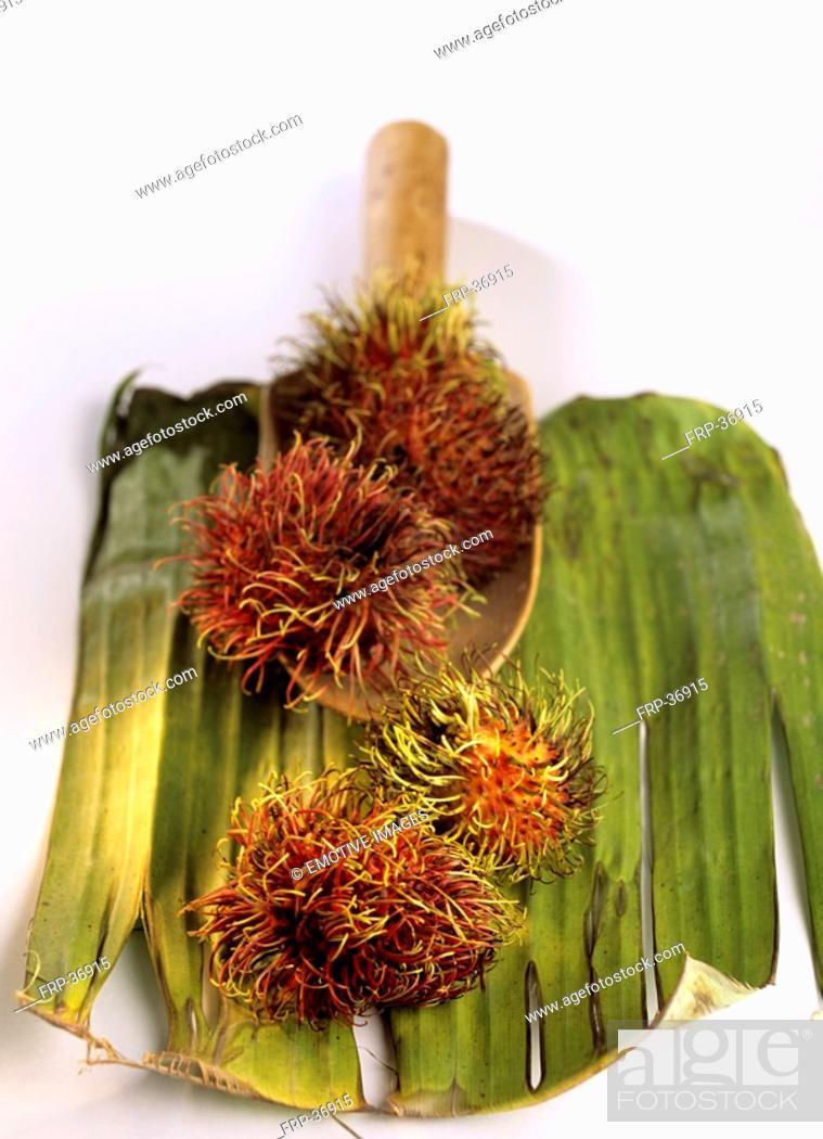 Stock Photo: Rambutan fruits Nephelium lappaceum.