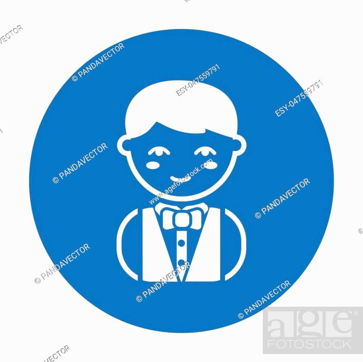 Stock Vector: Waiter black icon. Illustration for web and mobile. - stock vector.