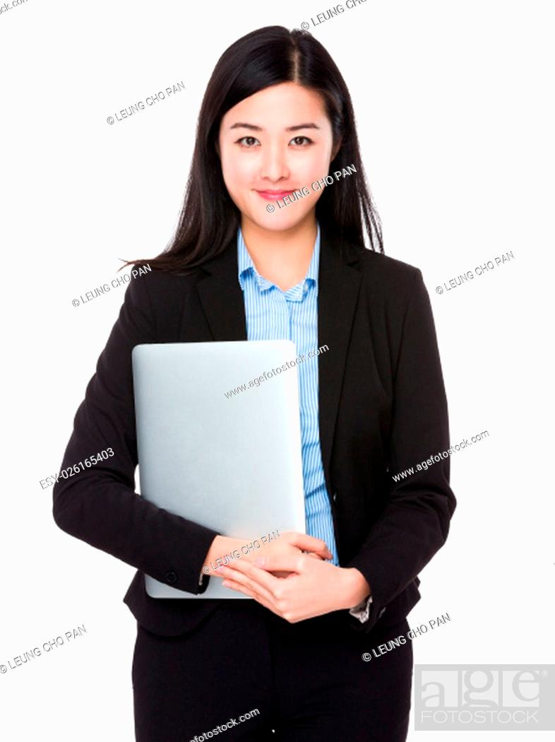 Stock Photo: Businesswoman hold with laptop.