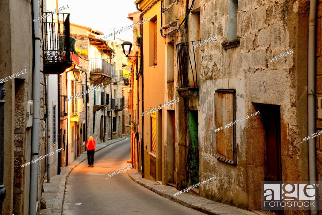 Stock Photo: Rustic street in the old town of Fermoselle, Zamora, Spain.