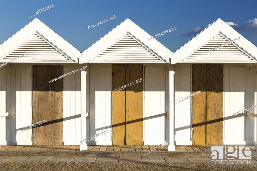 Stock Photo: Beach cabins, Ostia, Rome, Italy.