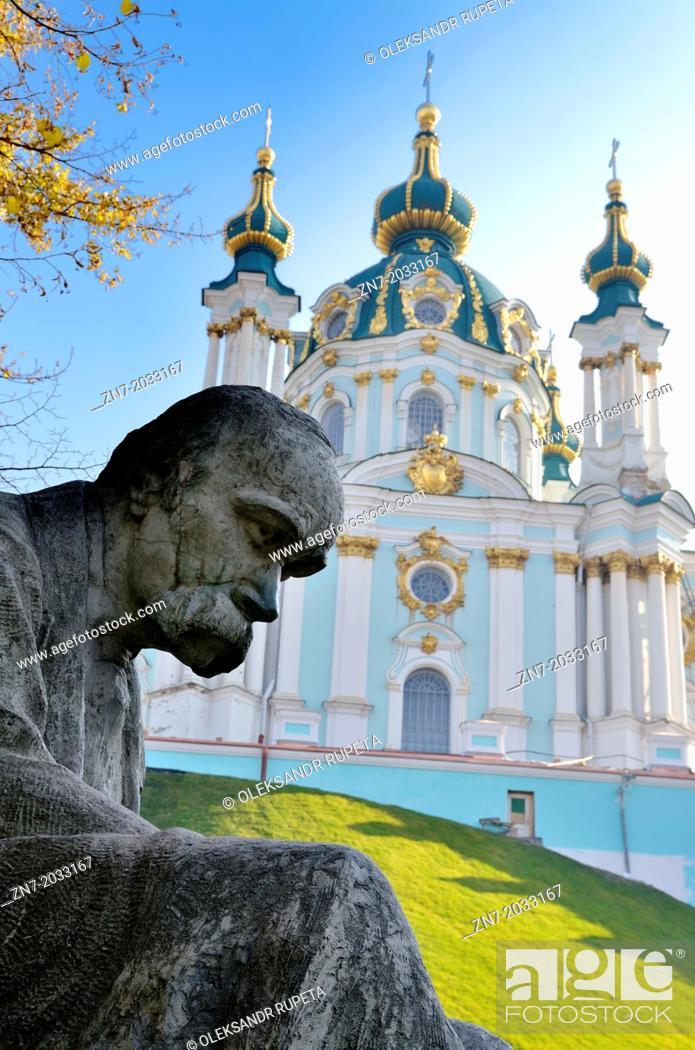 Stock Photo: Taras Shevchenko monument, Saint Andrew's Church, Andrews Descent, Podil, Kiev, Ukraine.