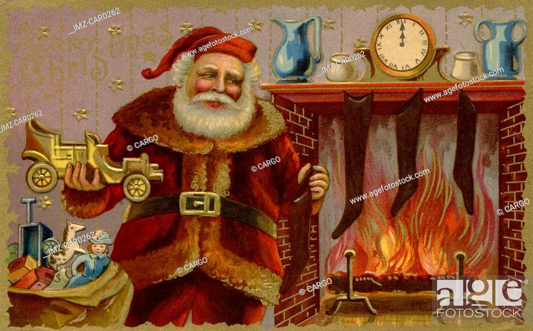 Stock Photo: Vintage Christmas postcard of Santa Claus holding a toy car.