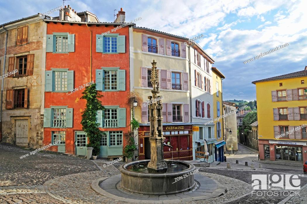 Stock Photo: fountain, old town, Le Puy-en-Velay, Auvergne Region, France, Europe, Brunnen, Altstadt, Le Puy-en-Velay, Region Auvergne, Frankreich, Europa.