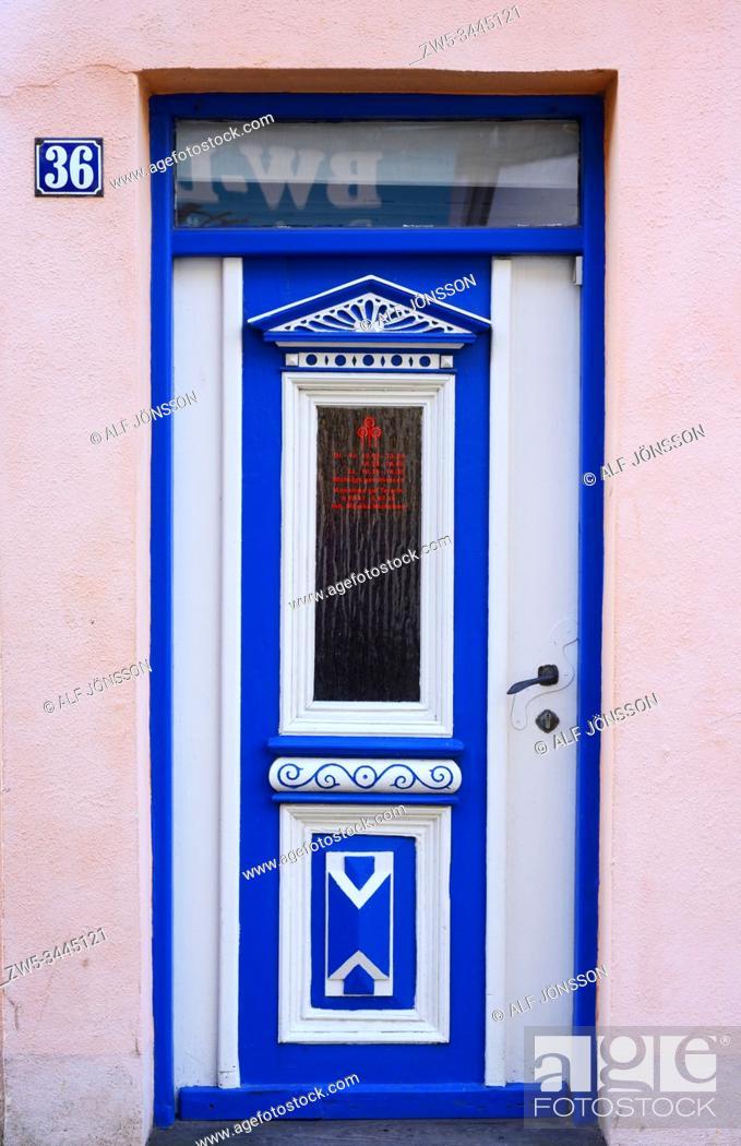 Stock Photo: Historical decorative wooden door in Husum, Schleswig-Holstein, Germany, Europe.