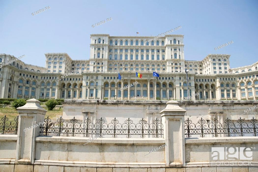 Stock Photo: Fachade of The Palace of Parliament, Casa Poporului (House of the People), Bucharest. Romania.