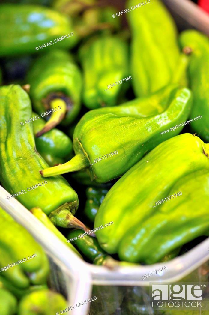 Stock Photo: Green peppers. La Boqueria market, Barcelona, Catalonia, Spain.