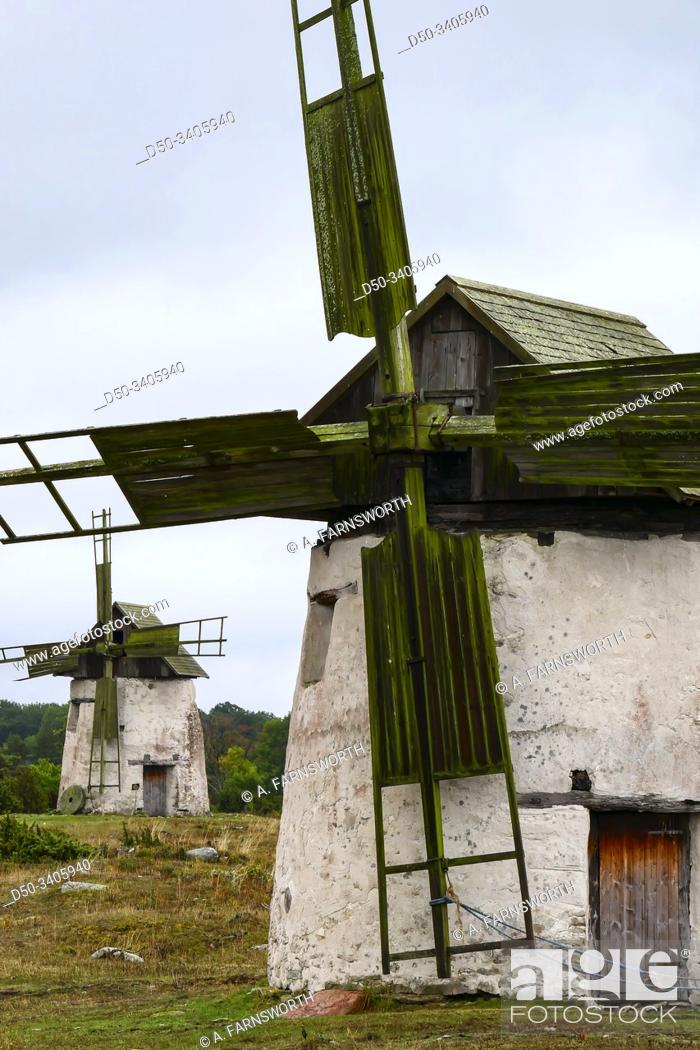 Stock Photo: Vamlingbo, Gotland, Sweden Windmills on a field.
