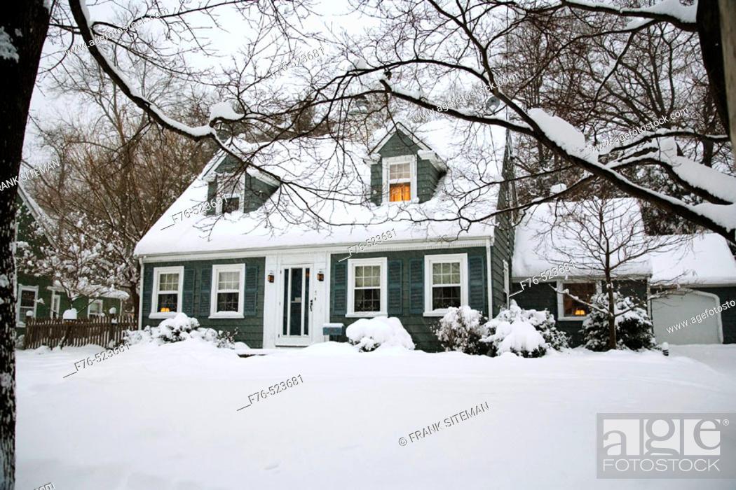 Stock Photo: Suburban house after snowstorm. Boston. Massachusetts. USA.