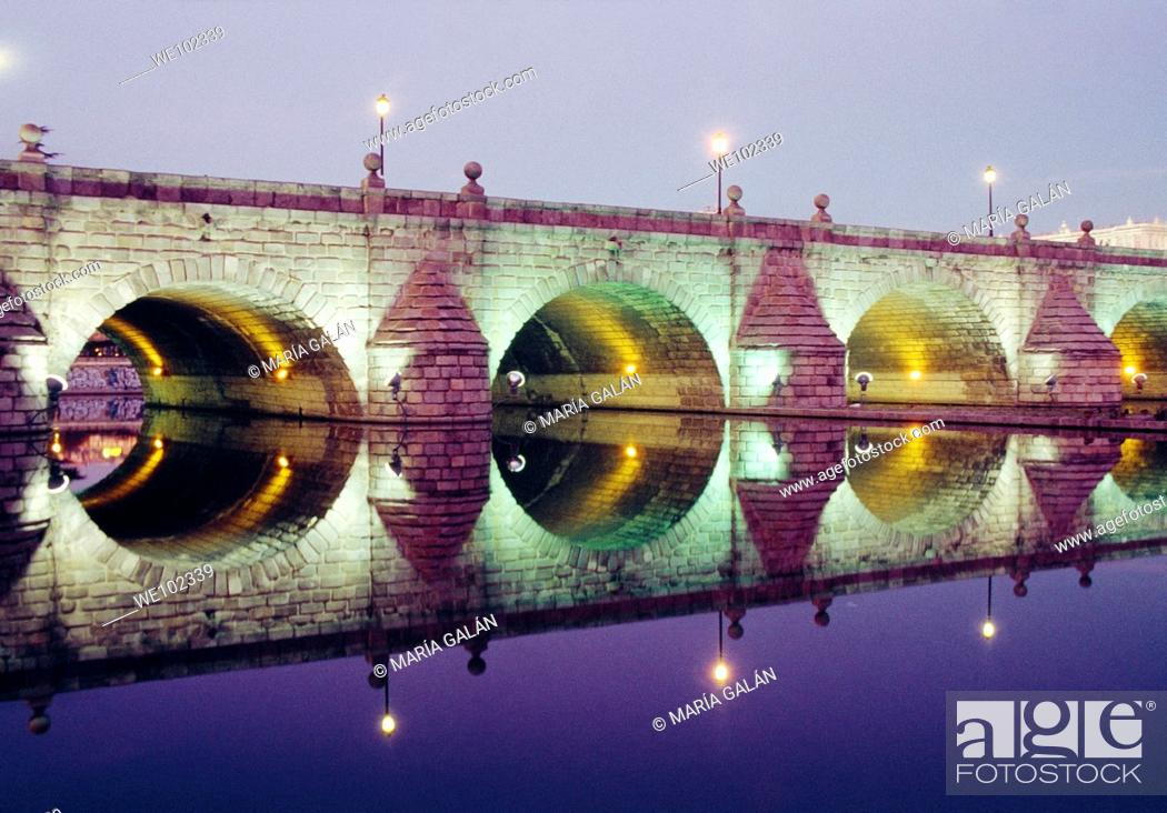 Stock Photo: Segovia bridge at night. Madrid, Spain.