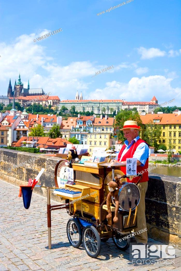 Stock Photo: Czech Republic - Prague - Mala Strana Prague 1 District - Charles Bridge Karluv Most.