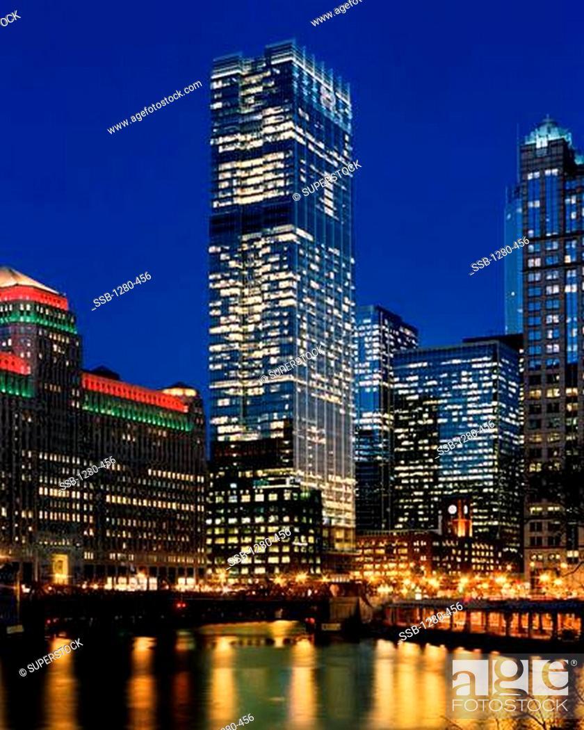 Stock Photo: USA, Illinois, Chicago cityscape at dusk.