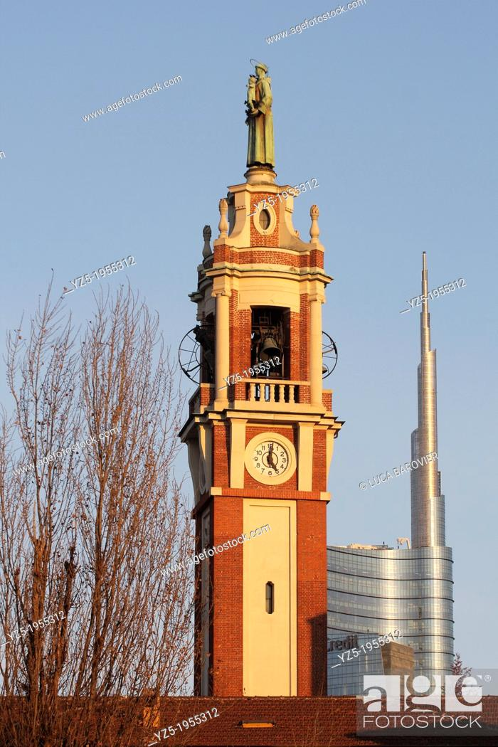 Stock Photo: Sant'Antonio da Padova church and Gae Aulenti tower deigned by Ceasare Pelli, Milan old and new, Italy.