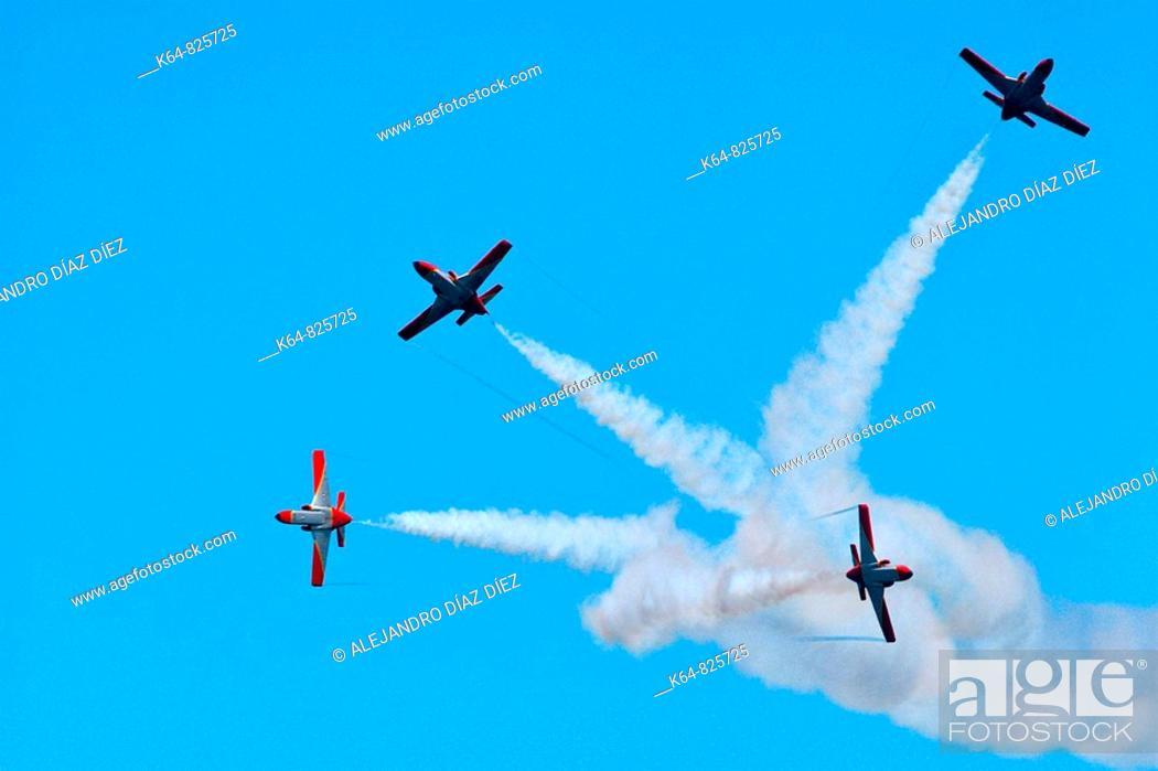 Stock Photo: Patrulla Aguila, Spanish Air Force aerobatic demonstration team.