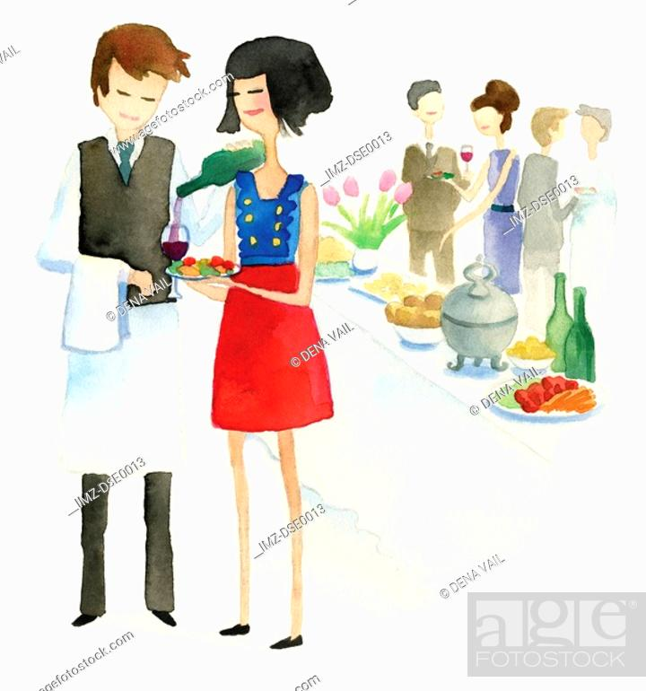 Stock Photo: A watercolor illustration of people at a reception.