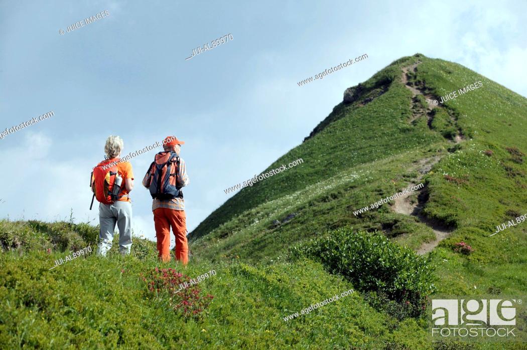 Stock Photo: Senior couple hiking, Kleinwalsertal, Allgau, Germany.