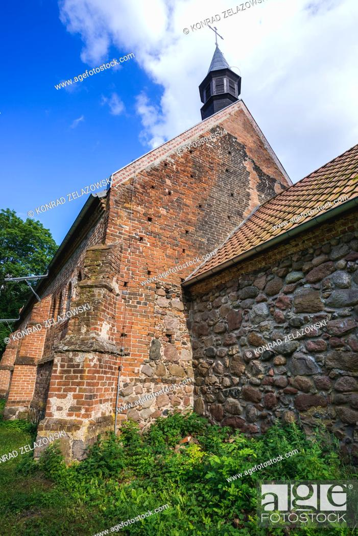 Stock Photo: Exterior of 14th century gothic church in Chlebowo village, Gryfino County in West Pomeranian Voivodeship of Poland.