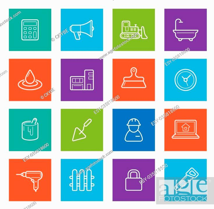 Vector: Set of Vector Construction Building Icons. Home and Repair. Can be used as Logo or Icon. Premium quality.