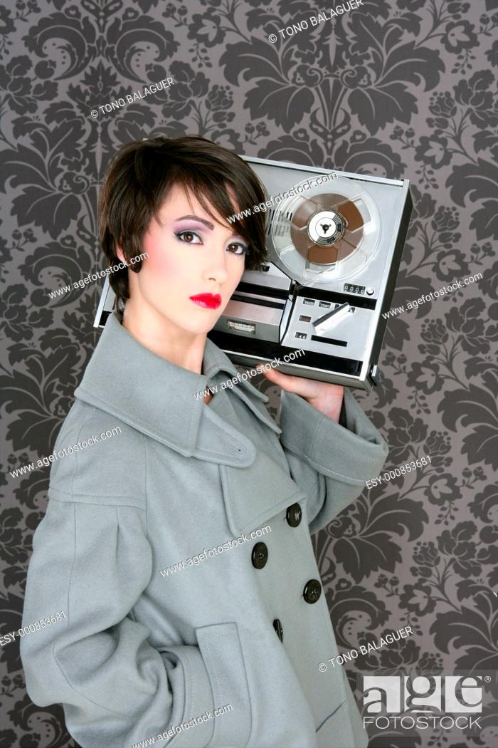 Stock Photo: retro open reel tape woman listening music vintage 60s wallpaper.