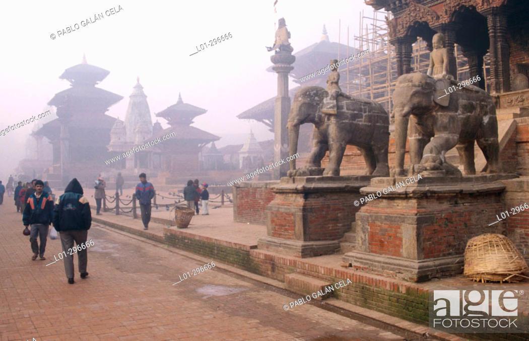 Stock Photo: Durbar Square in Bhaktapur. Kathmandu. Nepal.