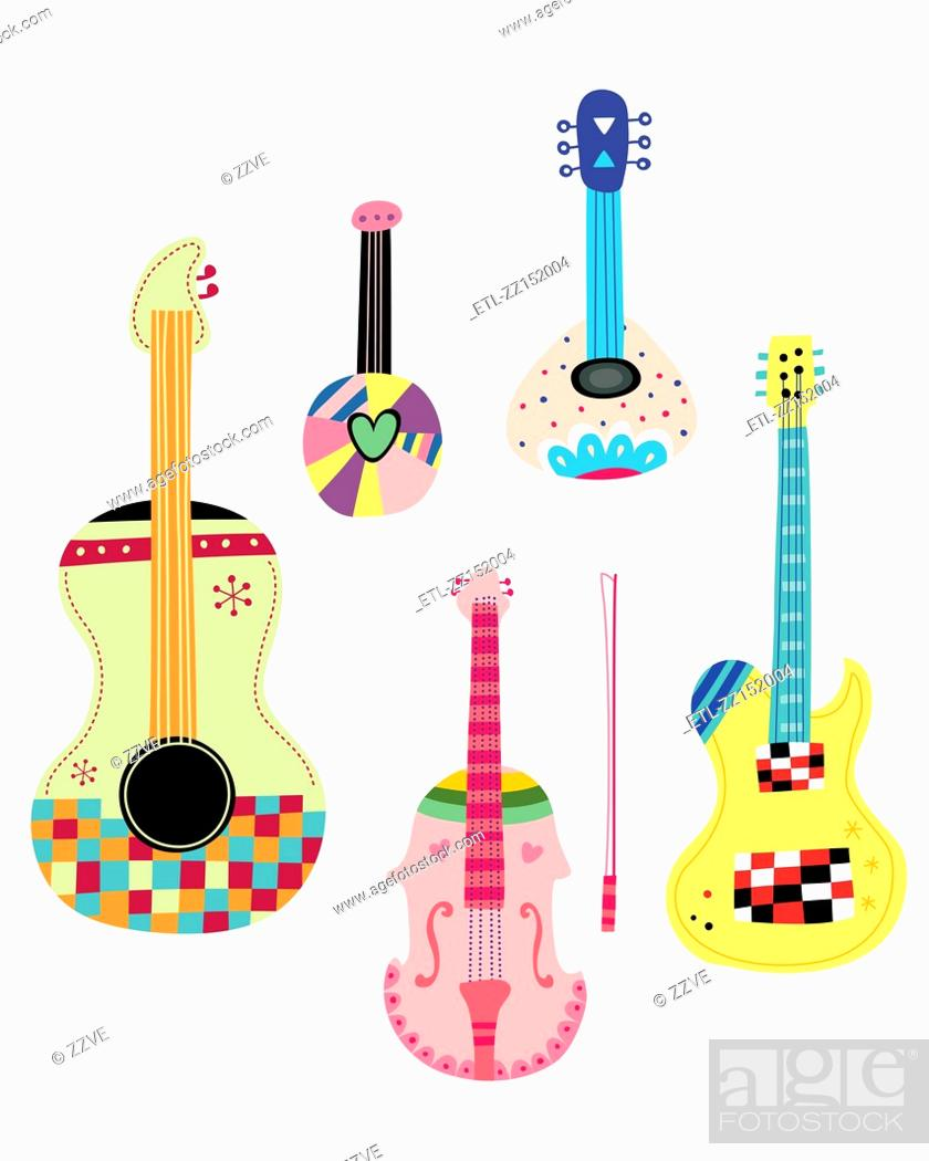 Stock Photo: various kinds of Stringed instruments.