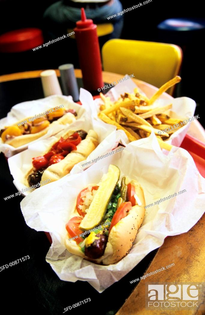 Stock Photo: Assorted hot dogs in a restaurant.