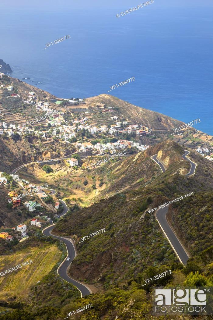 Stock Photo: Spain, Canary Islands, Tenerife, Taganana, coastal mountain view.