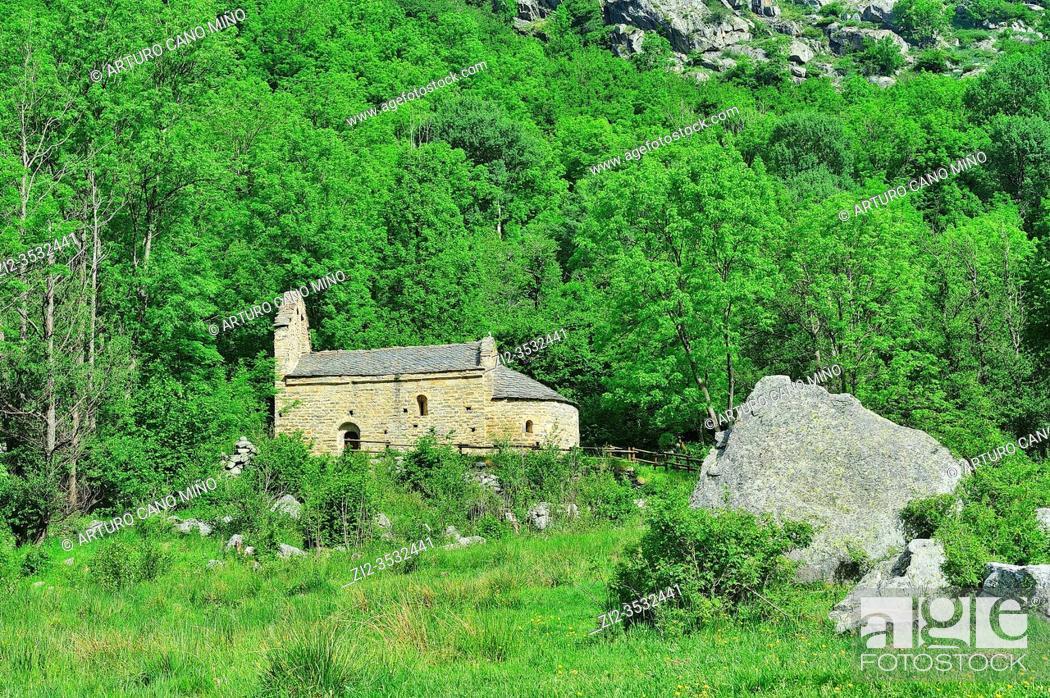 Stock Photo: The Romanesque church of Saint Martin de Envalls, in the French Pyrenees. Angoustrine-Villeneuve-des-Escaldes town, Pyrénées-Orientales department, France.