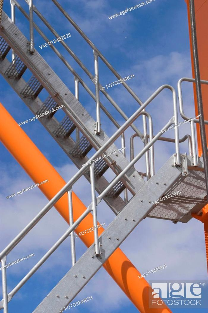 Stock Photo: staircase, up, down, iron, ascending, descending.