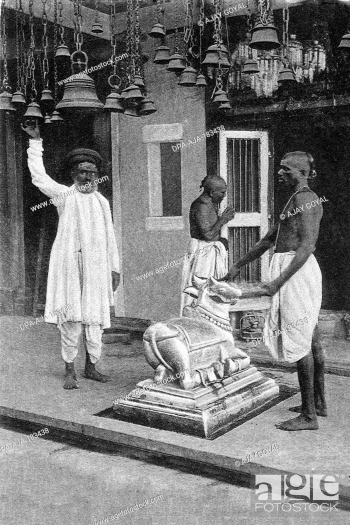 Stock Photo: old vintage photo of Interior of walkeshwar temple Mumbai Maharashtra India.