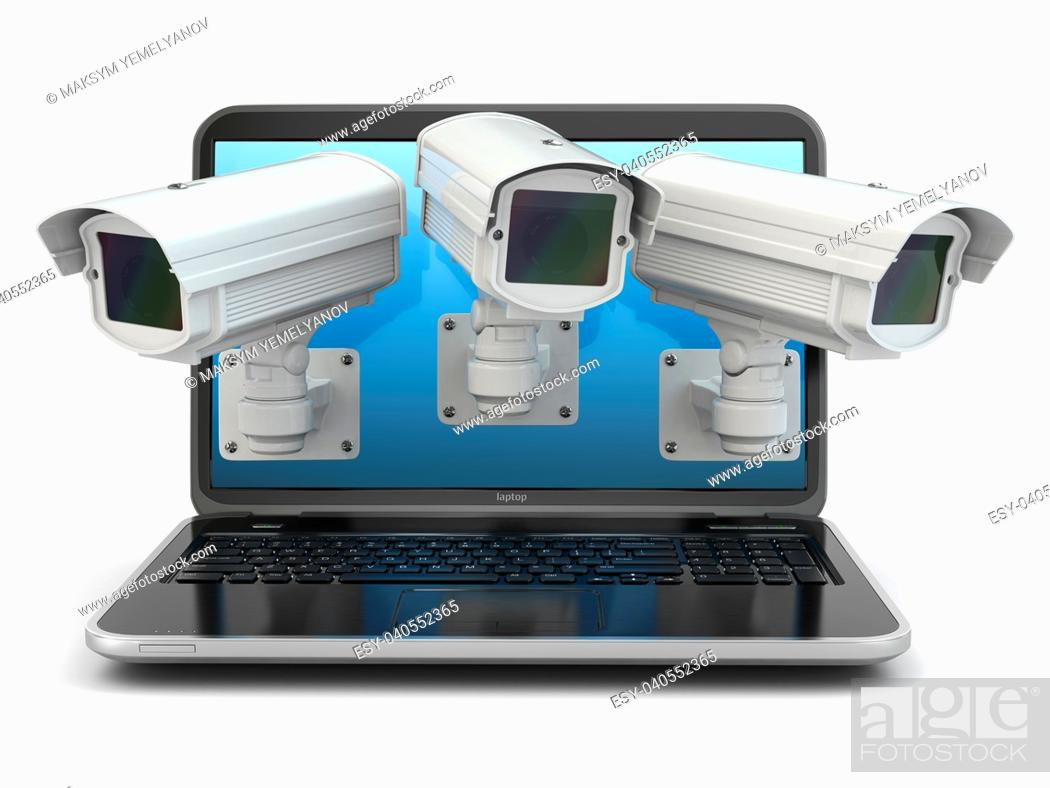 Stock Photo: Internet security. Laptop and CCTV on white isolated background. 3d.