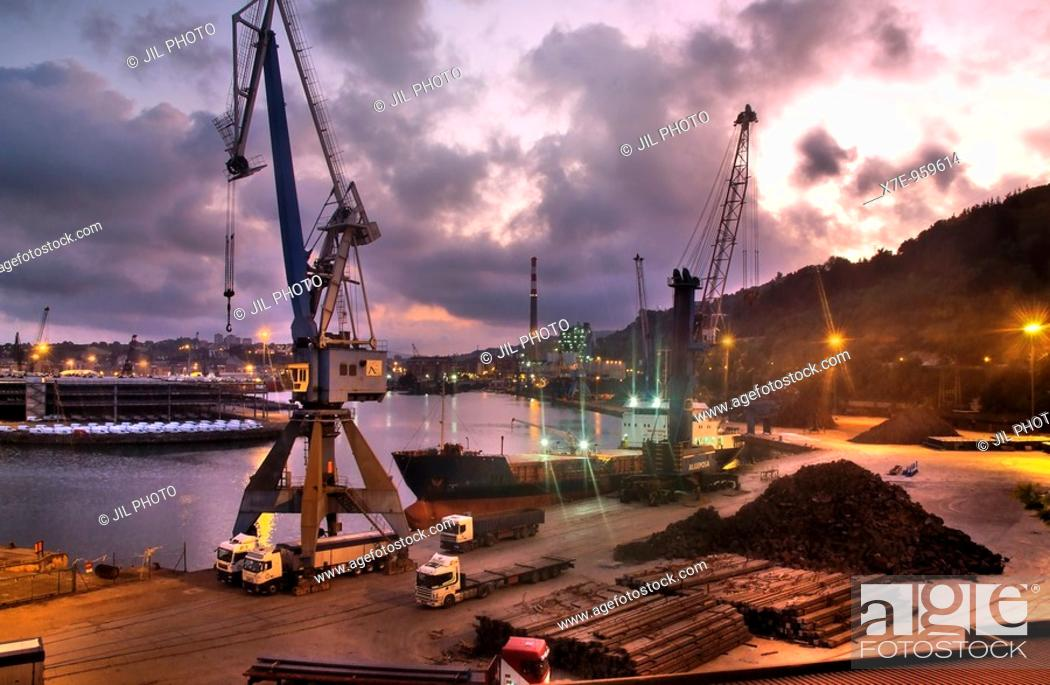 Stock Photo: Port of Pasajes Seen from Lezo  Lezo, Guipúzcoa  Basque Country  Spain.