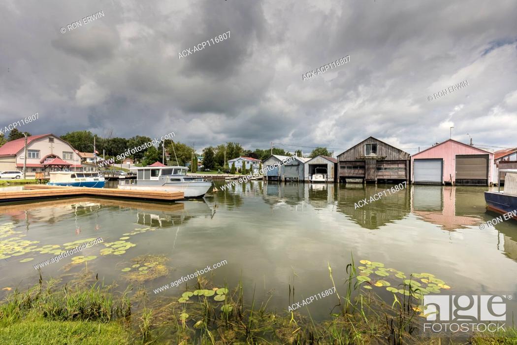 Stock Photo: Boathouses on Long Point Bay on Lake Erie at Port Rowan, Ontario.