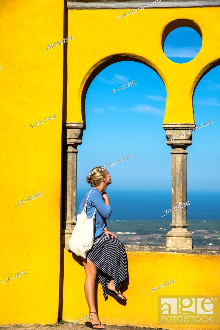 Stock Photo: young lady at sintra portugal.