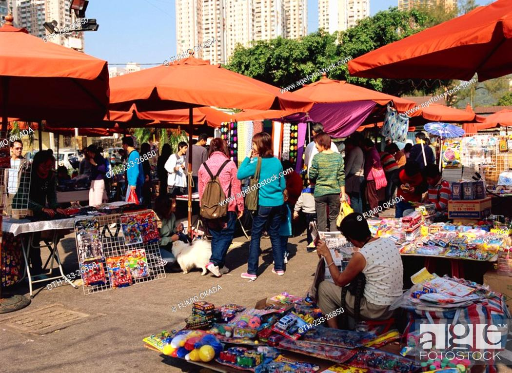 Stock Photo: Sunday market at Taipa, Macau.