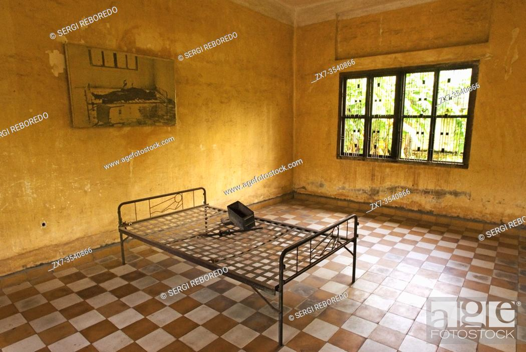 Stock Photo: Museum-School Tuol Sleng. This is a secondary school that Pol Pot turned into a security prison known as S-21. Prior to 1975 Toul Sleng was a high school but.
