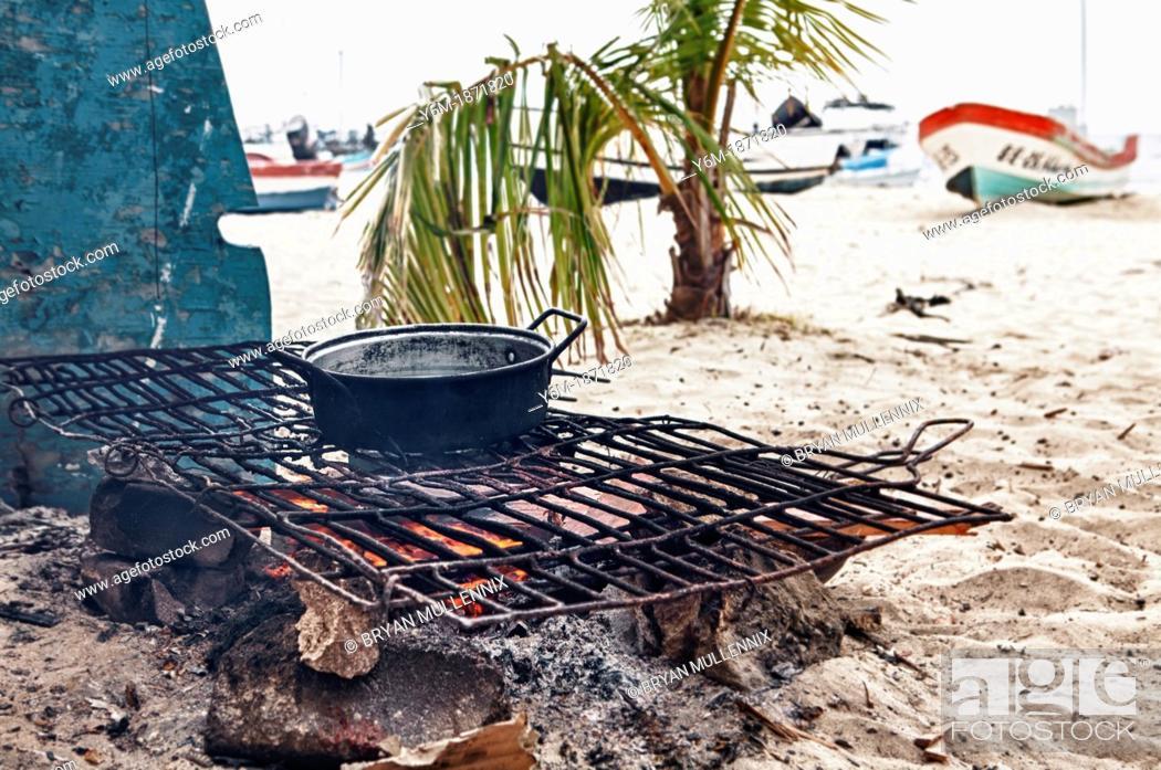 Stock Photo: Cook fire on beach, Isla Mujeres, Yucatan Peninsula, Quintana Roo, Mexico.