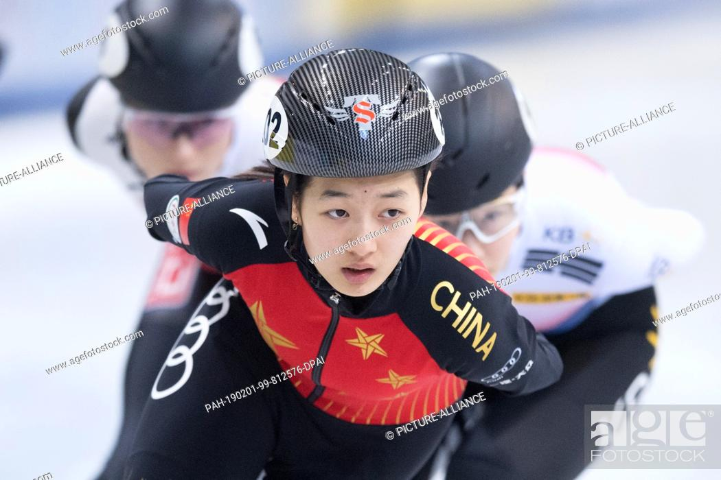 Stock Photo: 01 February 2019, Saxony, Dresden: Shorttrack: World Cup, preliminary, 1000 meters women in the EnergieVerbund Arena. Xiran Wang from China runs in a bend.