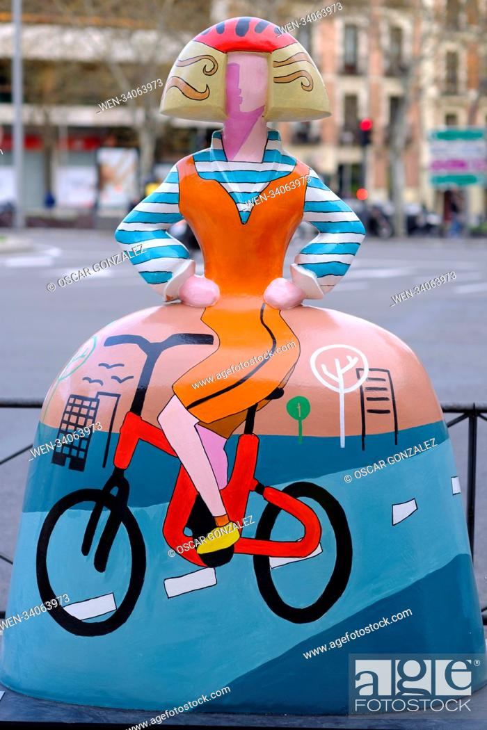 Stock Photo: 80 sculptures have been scattered around the city of Madrid by the Meninas Madrid Gallery Featuring: Atmosphere Where: Madrid.