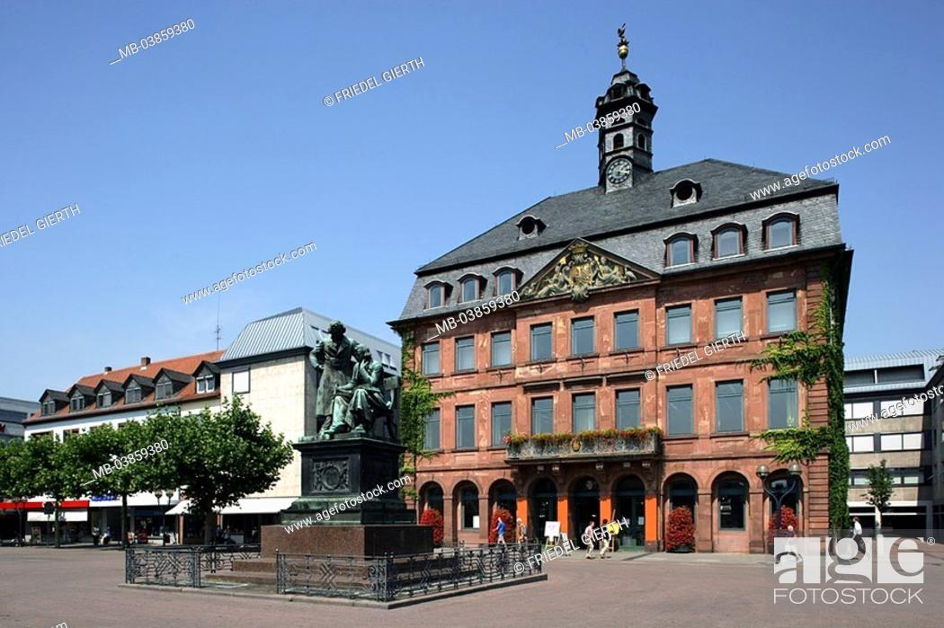 Stock Photo: Germany, Hesse, Hanau, brothers Grimm monument 1896 Neustädter town hall, place, architecture, builds sandstone-facade 1723 - 1733 Europe, market place.