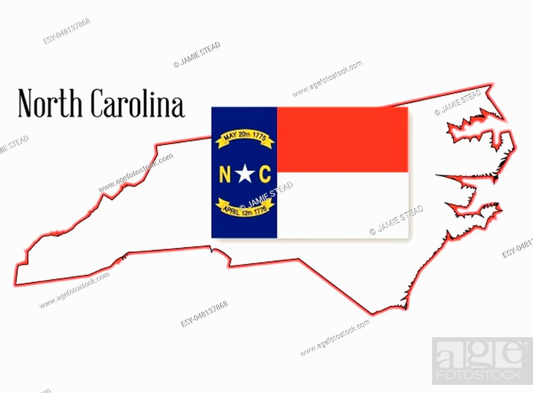 Vector: Outline map of the state of North Carolina with flag inset.