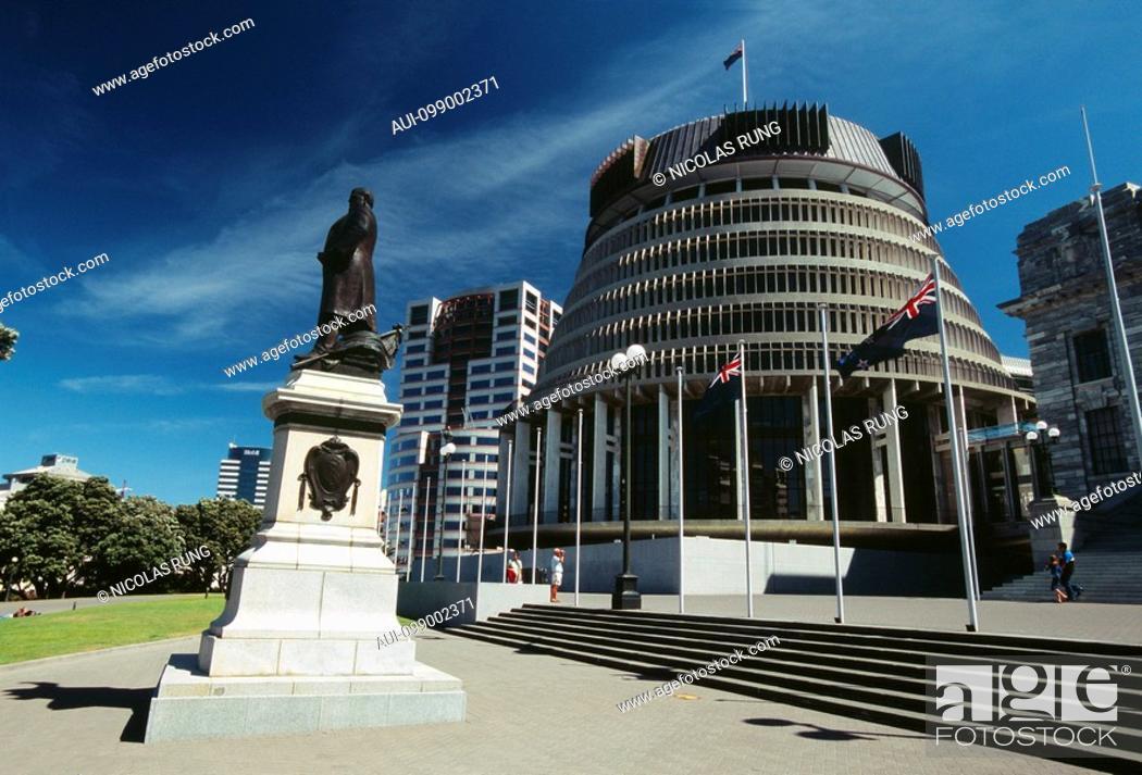 Stock Photo: New Zealand - North Island - Wellington - The Beehive.