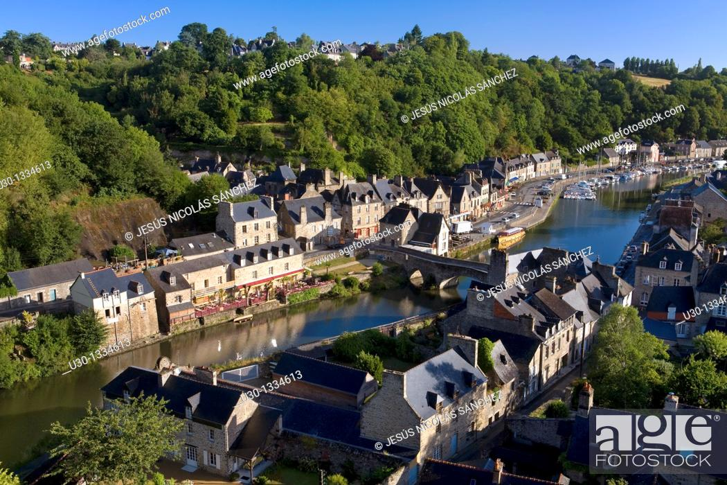 Stock Photo: Overview of the old town of Dinan, in Cotes d'Armor department, Brittany  France.
