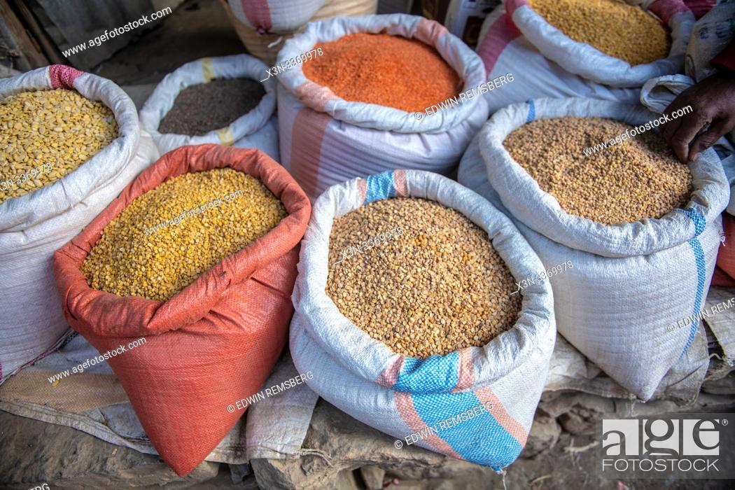 Stock Photo: Canvas sacks filled with lentils and other produce for sale, Mekele, Ethiopia. Mekele, Ethiopia.