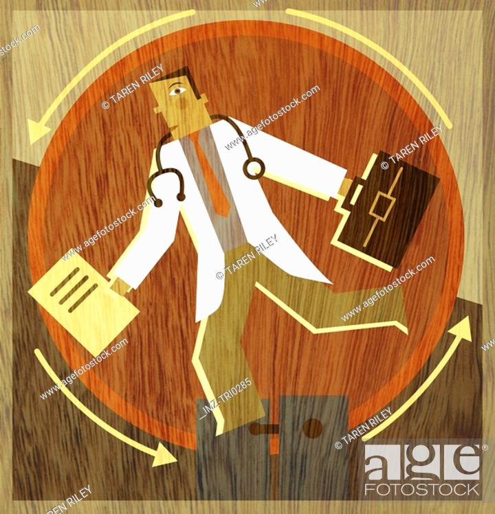 Stock Photo: A doctor running on a wheel with a briefcase and folders in his hands.
