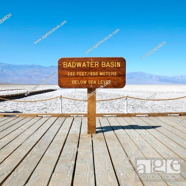 Stock Photo: Badwater Basin sign in Death Valley National Park.