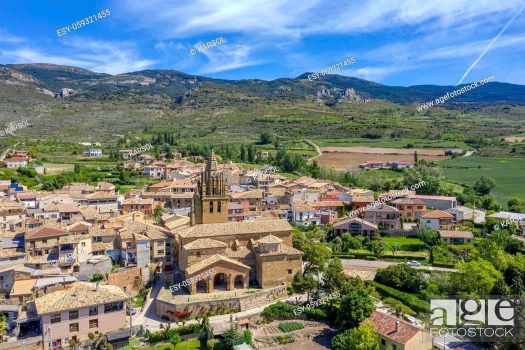 Stock Photo: Church of San Esteban in Loarre Aragon Huesca Spain, in the background the Castle.
