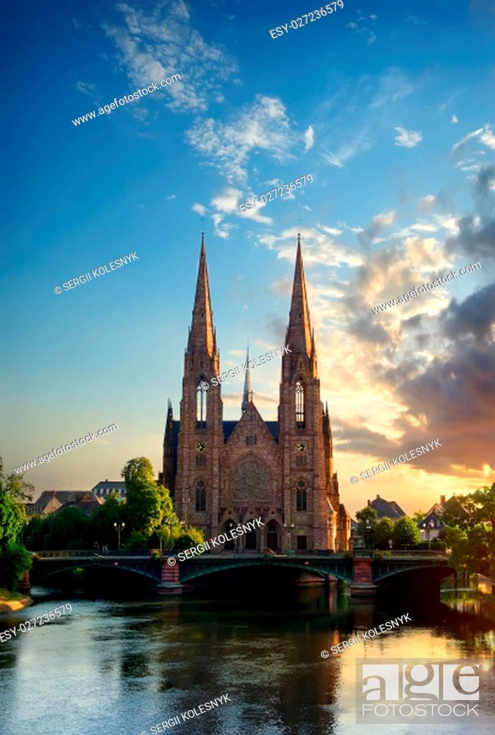 Stock Photo: Reformed Church of St. Paul in Strasbourg at sunrise, France.