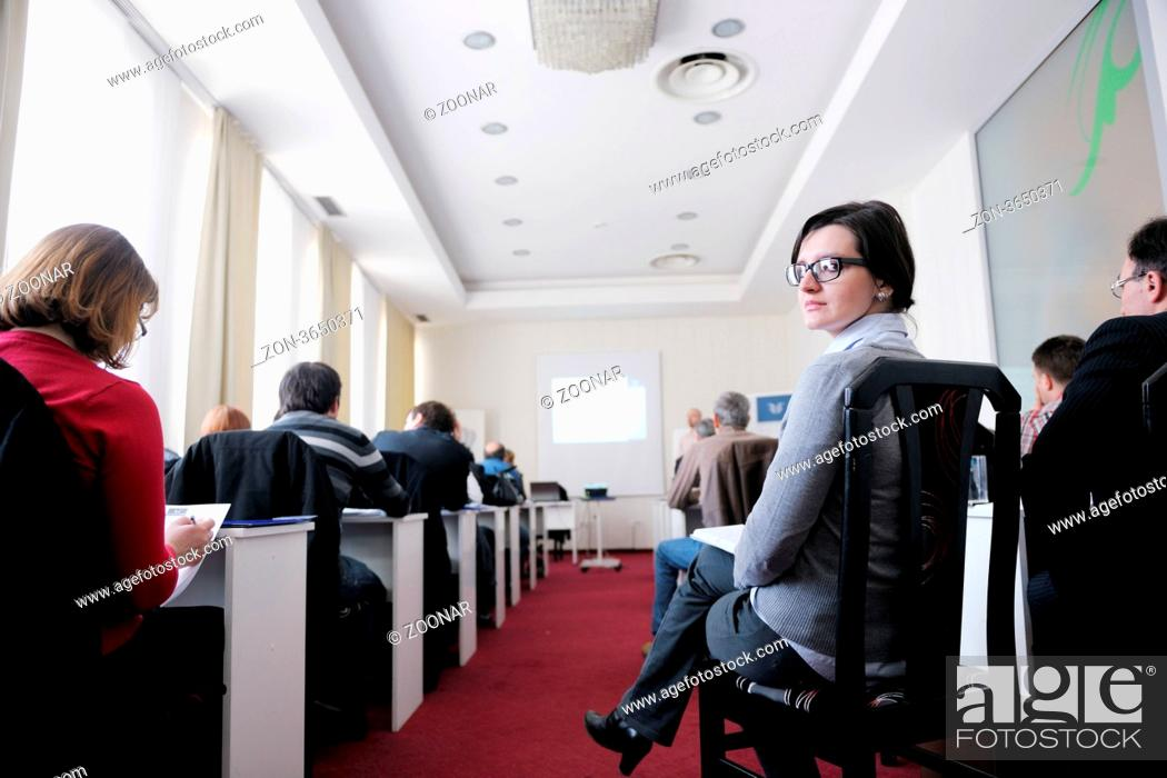 Stock Photo: business people group have education leasson on seminar training event at small bright office conference room.
